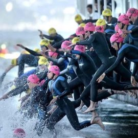 This was a photo of the start from a few years ago.  Yes, it is exactly like that.  2,000 jumping in the water in 6 minutes.