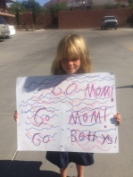 "My daughter cheering for me and my fellow ""Bettys"" at Ironman 70.3 St. George."