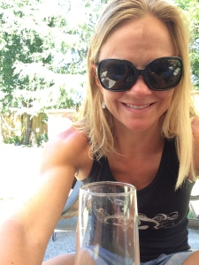 Post Race enjoying a glass of wine......
