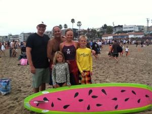 Me and my support crew!! Including the fam, and my shark-anxiety-saving paddleboarder!